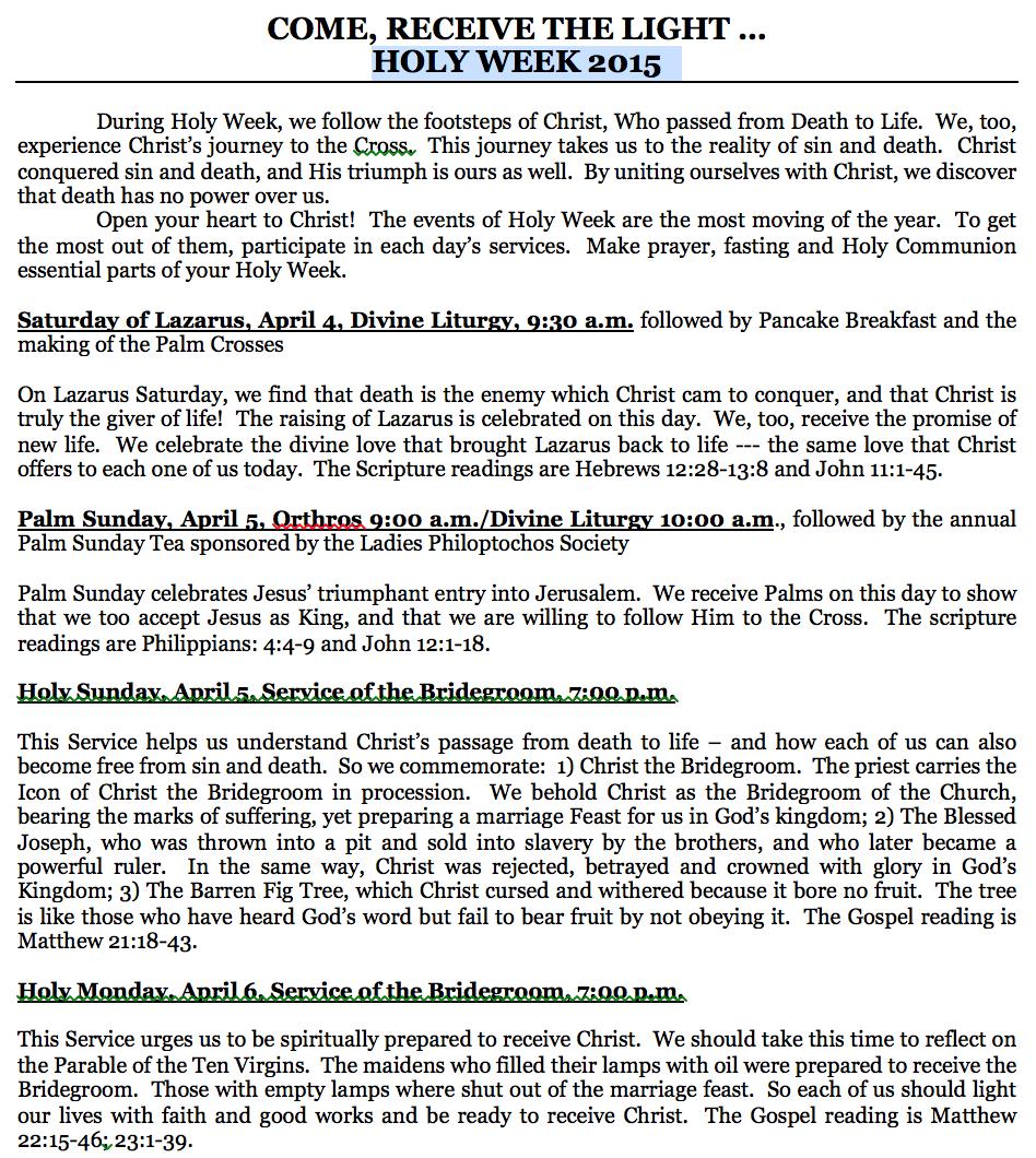Holy Week 2015 Schedule
